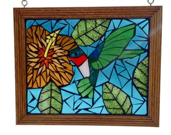 Ruby Throated Hummingbird with Hibiscus Flower, Stained Glass Mosaic Panel for Hanging in Window, Great Gift for Gardener or Birdwatcher