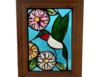 Hummingbird Suncatcher for Hanging in Window, Stained Glass Bird Mosaic of Ruby Throated Hummingbird with Daisy Flowers