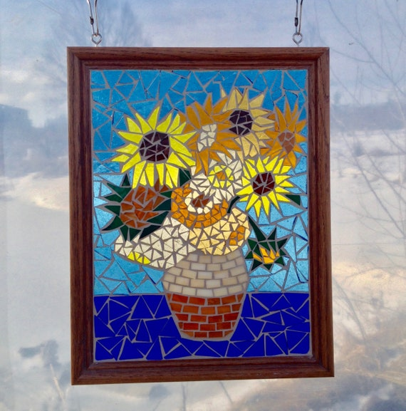 Van Gogh Sunflower Stained Glass Panel Mosaic Window Hanging Etsy