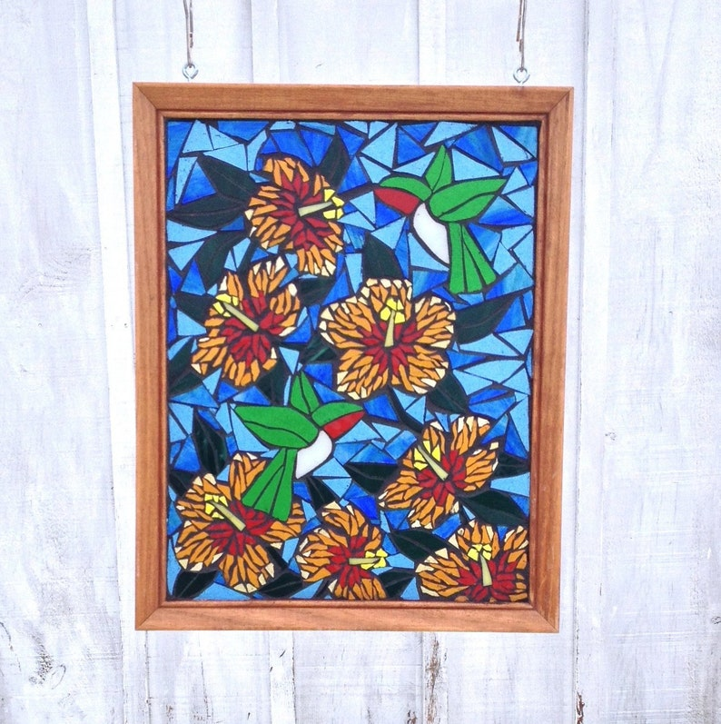 Stained Glass Panel Mosaic Hummingbirds With Orange Hibiscus Etsy