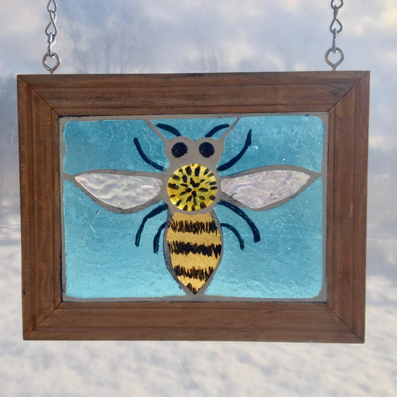 Yellow and Turquoise Sun Catcher Perfect for Backyard Beekeeper Gift Honey Bee Stained Glass Mosaic Suncatcher for Hanging in Window