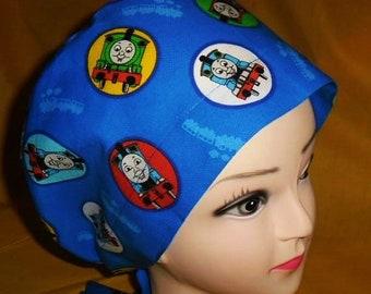 46042c8112a Scrub Caps Handmade From Thomas The Tank Engine Fabric Pediatric Ladies  Nurses Surgical Scrubs Cap Pixie Tie Back Scrub Hats