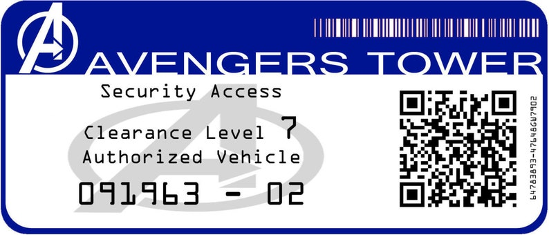 vinyl car decal *authorized vehicle* Marvel Avengers Tower
