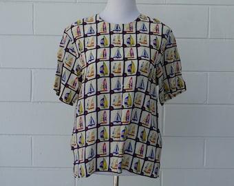 Vintage Nautical Silk Button Down  Blue Boat Shirt  Large X-Large  Mark Shale  B