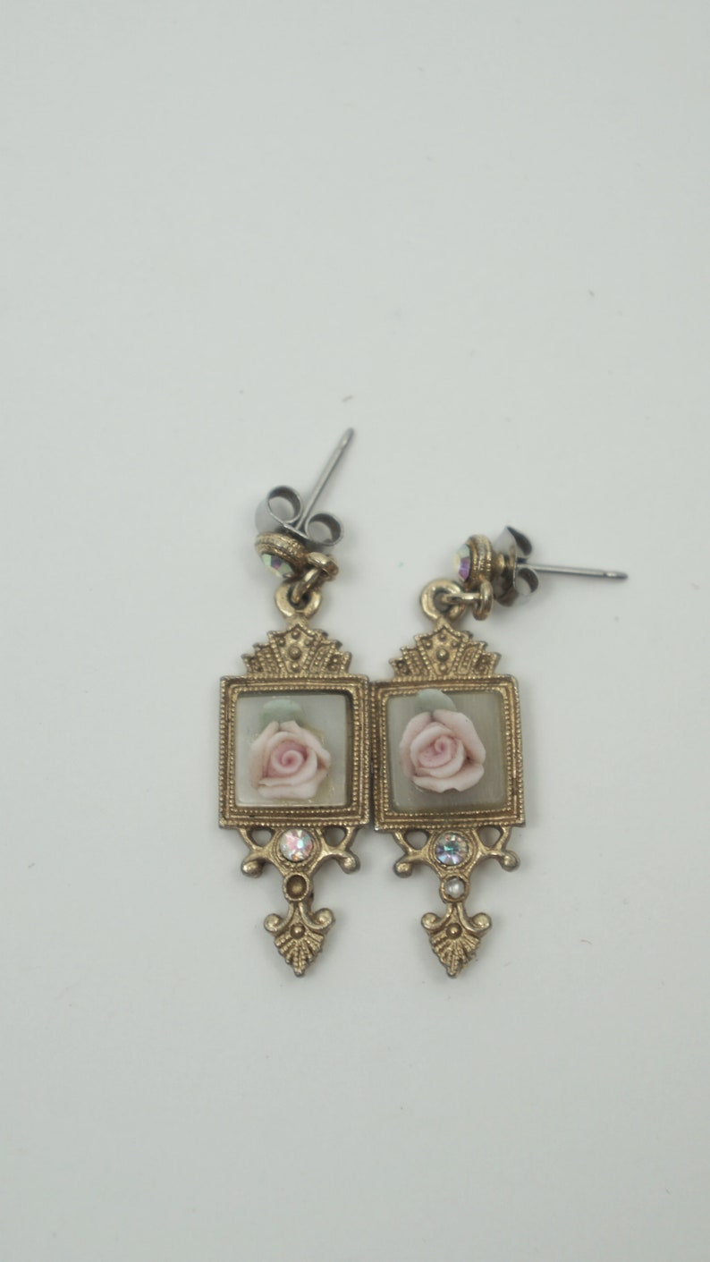 Vintage Unmarked Rose Dangle Earrings  3D Push Back Stud  Rose Accessories  Romantic Evening Formal  Bridal Wedding