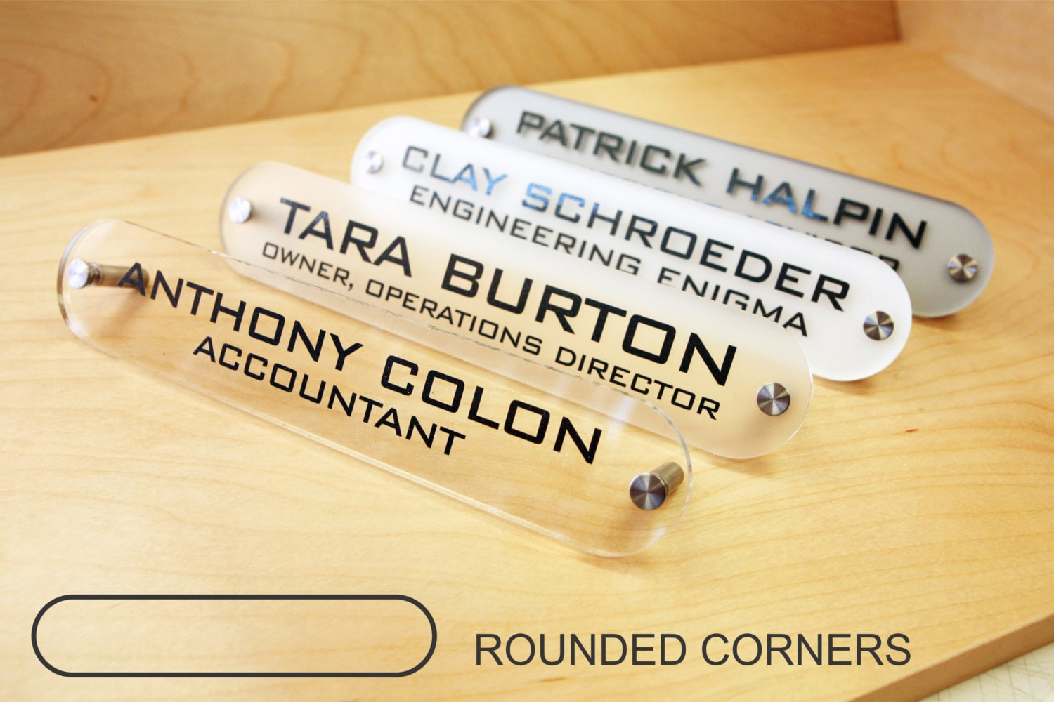 Office Name Plates: Personalized Office DESK SIGN Name Plate. Modern Stainless