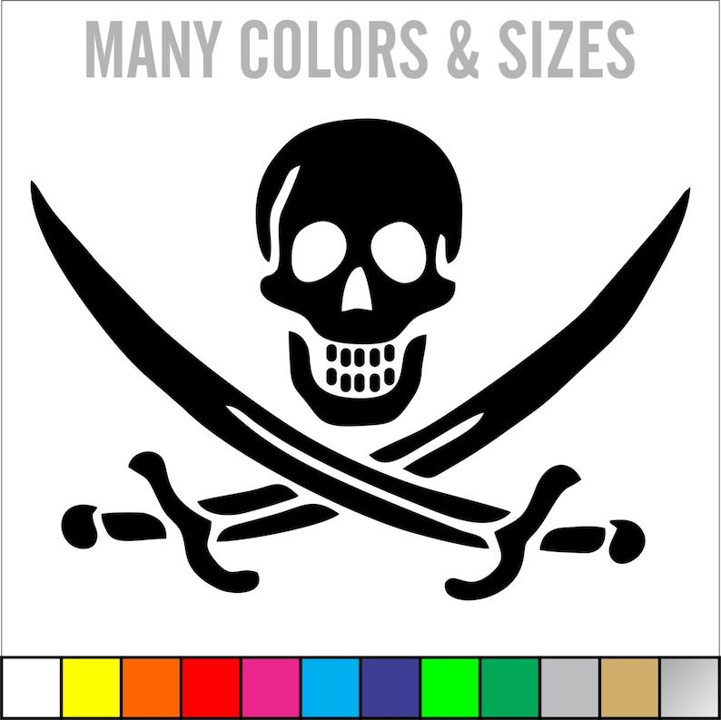 3 Inch wide Jolly Roger SKULL Vinyl Decal Sticker Die Cut