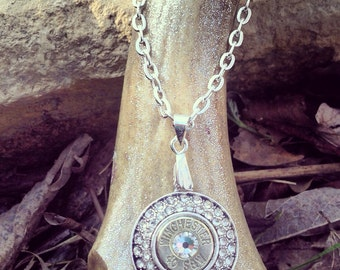 Double Crystal Halo Pistol Shell Necklace