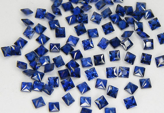 20 PCS 2 x 2 mm Blue Sapphire Princess Cut Lab Corundum Lab Created Loose  Gemstones Loose Lab Sapphire