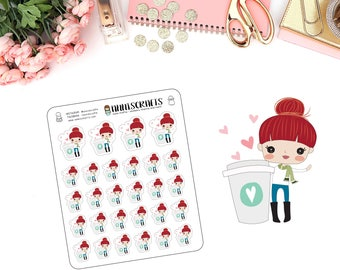 Priscilla Coffee Planner Stickers Cup Of Coffee Love Happy Planner Stickers Red Hair Girl Planner Stickers Cute Kawaii Planner Stickers