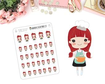 Priscilla Cooking Planner Stickers Baking Stickers Kawaii Red Hair Girl Happy Planner Stickers Bakery Planner Kawaii Stickers