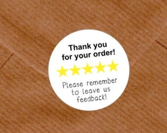 Thank You For Your Order Leave Feedback Review Stickers Mailing Business Etsy Round Packaging Stickers UK Seller