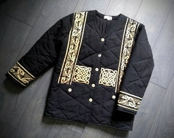 569daf1e28ced3 Vintage Swedish Scandinavian viking motives handprinted quilted  minimalistic black artistic folklore folk art jacket