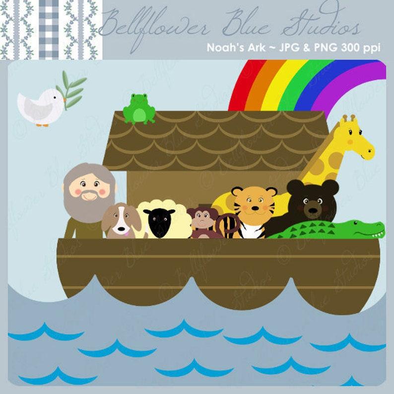 Noah's Ark Digital Clipart Full Color version image 0
