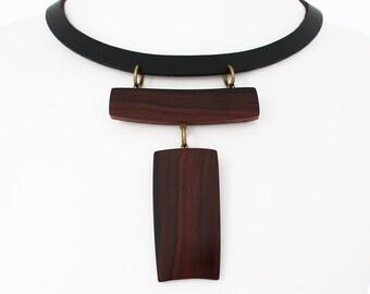 Wooden necklace, leather statement necklace, designer necklace, exotic wood necklace, rosewood necklace, japan, minimalist necklace, choker