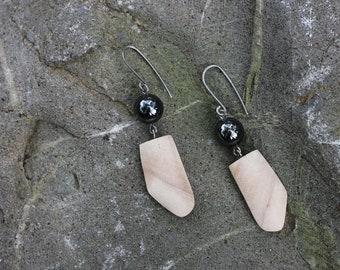 Light wooden earrings, silver dangle earrings, hematite earrings, sterling silver drop earrings, wood silver earrings, art silver earrings