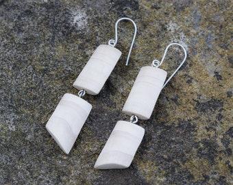 Wood dangle earrings, sterling silver drop earrings, natural earrings, eco jewelry, wood silver earrings, light earrings, tree jewelry, wood