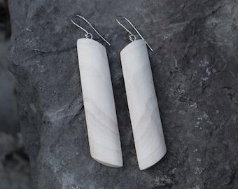 Silver long earrings, elegant wooden earrings, wooden drop earrings, silver minimalist earrings, designer earrings, light silver earrings