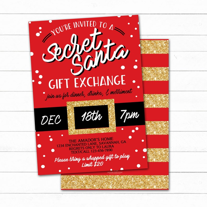 Secret Santa Invitation Christmas Party Invitation Santa image 0