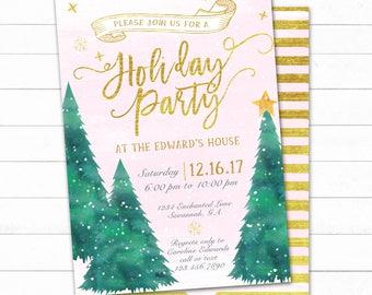 Winter Christmas Party, Holiday Invitation, Christmas Invitation, Holiday Party Invitation, Pink and Gold Christmas Invitation,