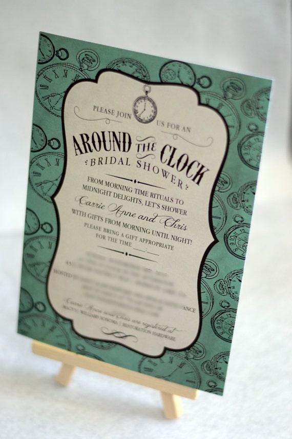 Around The Clock Bridal Shower Invitation Couples Shower Household Shower Custom Invitation Digital Diy Printable Invitation