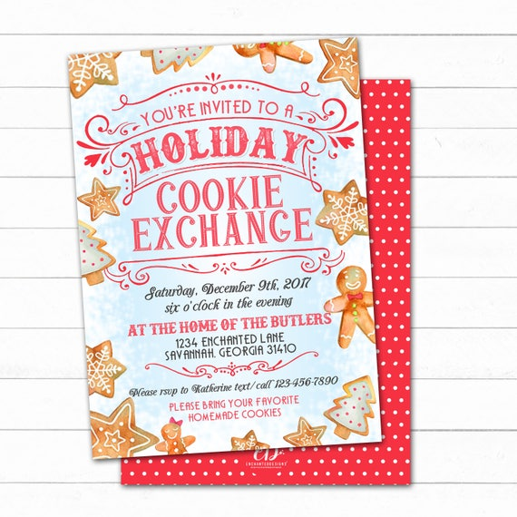 Cookie Exchange Invitation Cookie Swap Invite Christmas Etsy