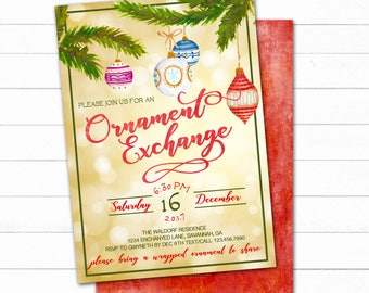 Ornament Exchange Invitation, Christmas Invitation, Printable Christmas Invitation, Christmas Party Invitation, Printable Holiday Invitation