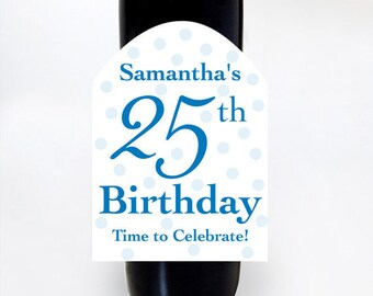 Custom Wine Labels, Birthday Gift, Wine Labels, Polka-Dot Labels, Personalized Birthday