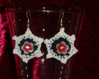 Crocheted White and Green Dangle Doily Earrings with Red Flower