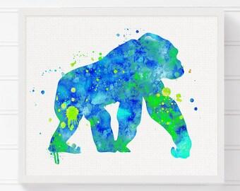 Gorilla Art Print Watercolor Painting Poster Nursery Wall Decor Kids Room Childrens Boys
