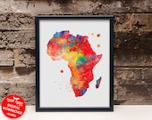 Africa watercolor map print, country map poster, printable wall art, map painting, housewarming gift, digital download