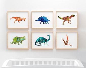 Dinosaur nursery wall art, set of 6 watercolor dinosaur prints, boys nursery decor, boy bedroom decor, kids room art, printable, download