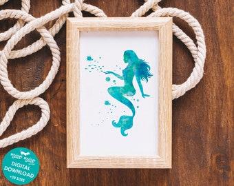 Mermaid print, watercolor art, mermaid nursery decor, mermaid wall art, girls bedroom decor, printable art, digital download