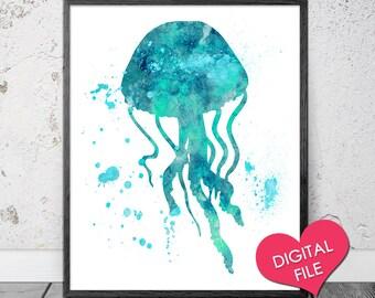 Jelllyfish Watercolor PRINTABLE Art, Digital Download, Watercolor Jellyfish Art, Jellyfish Printable, Ocean Printable, Nursery Watercolor
