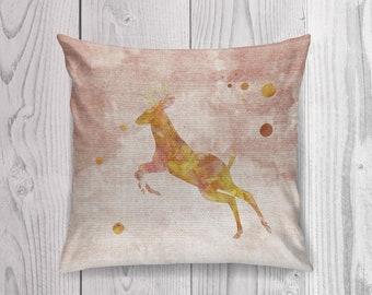 Deer Pillow Case, Deer Pillow Cover, Deer Throw Pillow, Animal Pillow Case, Woodland Nursery Decor, Watercolor Deer,Cabin Decor,Deer Cushion