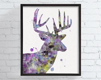 Deer Portrait, Watercolor Deer, Deer Art Print, Deer Painting, Woodland, Nursery Wall Art, Watercolor Animal, Deer Poster, Deer Illustration