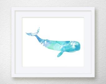 Whale Art Print, Nautical Home Decor, Beach Art Print, Nursery Art Print, Watercolor Whale, Whale Painting, Archival Print, Whale Wall Decor