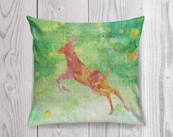 Deer Pillow Case, Deer Pillow Cover, Deer Throw Pillow, Animal Pillow Case, Woodland Animals, Cabin Decor, Woodland Nursery Decor,Watercolor
