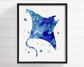 Manta Ray Watercolor Painting, Manta Ray Art Print, Manta Ray Poster, Nautical Wall Art, Bathroom Decor, Coastal Wall Decor, Ocean Art Print