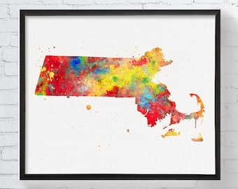 Massachusetts State Art, Massachusetts Watercolor Map, Massachusetts Poster, Massachusetts Art Print, State Wall Decor, Travel Art, Dorm Art