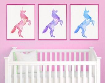 Baby Girl Nursery, Unicorn Nursery, Unicorn Wall Art, Unicorn Print, Watercolor Unicorn, New Baby Gift, Watercolor Nursery Art, Girls Room