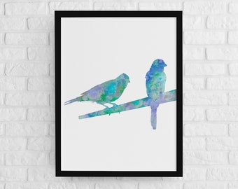 Canary print, birds on branch art, wall decor, home decor, watercolor painting, birds art poster, bird couple art, turquoise