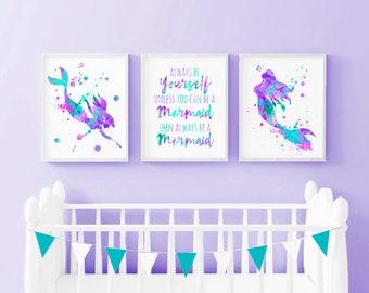 Mermaid nursery art, set of 3 prints, watercolor mermaid wall art, girls bedroom decor, girl nursery art, printable art, digital download