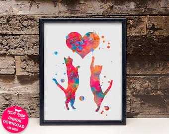 Love cats print, watercolor art, printable cat poster, cat painting, cat wall art, digital download, nursery decor