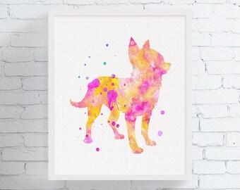 Watercolor Chihuahua Print, Chihuahua Art, Chihuahua Gift, Chihuahua Wall Decor, Chihuahua Painting, Dog Lover Gift, Girls Room Art,, Framed