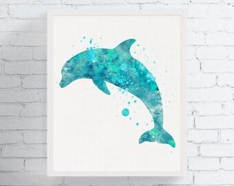 Dolphin Watercolor, Dolphin Print, Dolphin Art, Bathroom Wall Art, Nautical Nursery, Coastal Decor, Beach Art, Custom Color,  Art, Framed