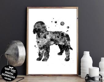 Goldendoodle print, watercolor art, printable dog poster, dog painting, dog wall art, digital download, nursery decor