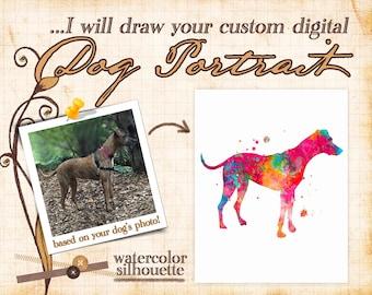 Custom dog portrait, custom digital portrait dog from photo, watercolor painting, dog silhouette, dog lover gift