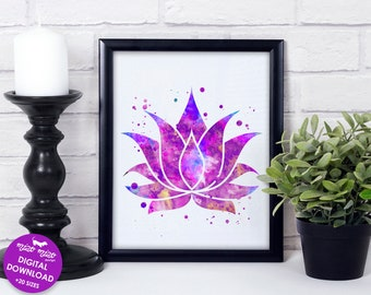 Lotus flower print, watercolor art, spiritual wall art, yoga poster, meditation print, zen home decor, printable art