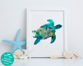 Sea turtle print, watercolor art, printable nautical wall art, coastal painting, sea life poster, bathroom decor, digital download